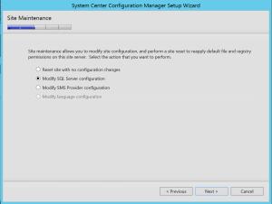 Modify SQL Server Configuration