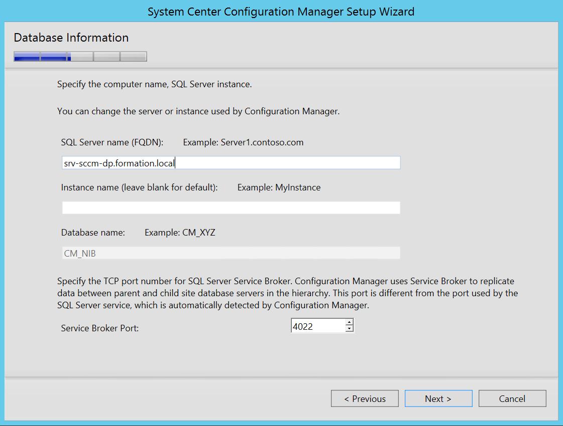 Enter tne FQDN of the new server