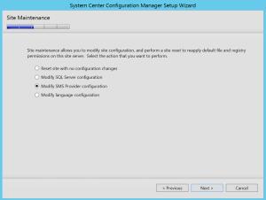 Modify SMS Provider configuration