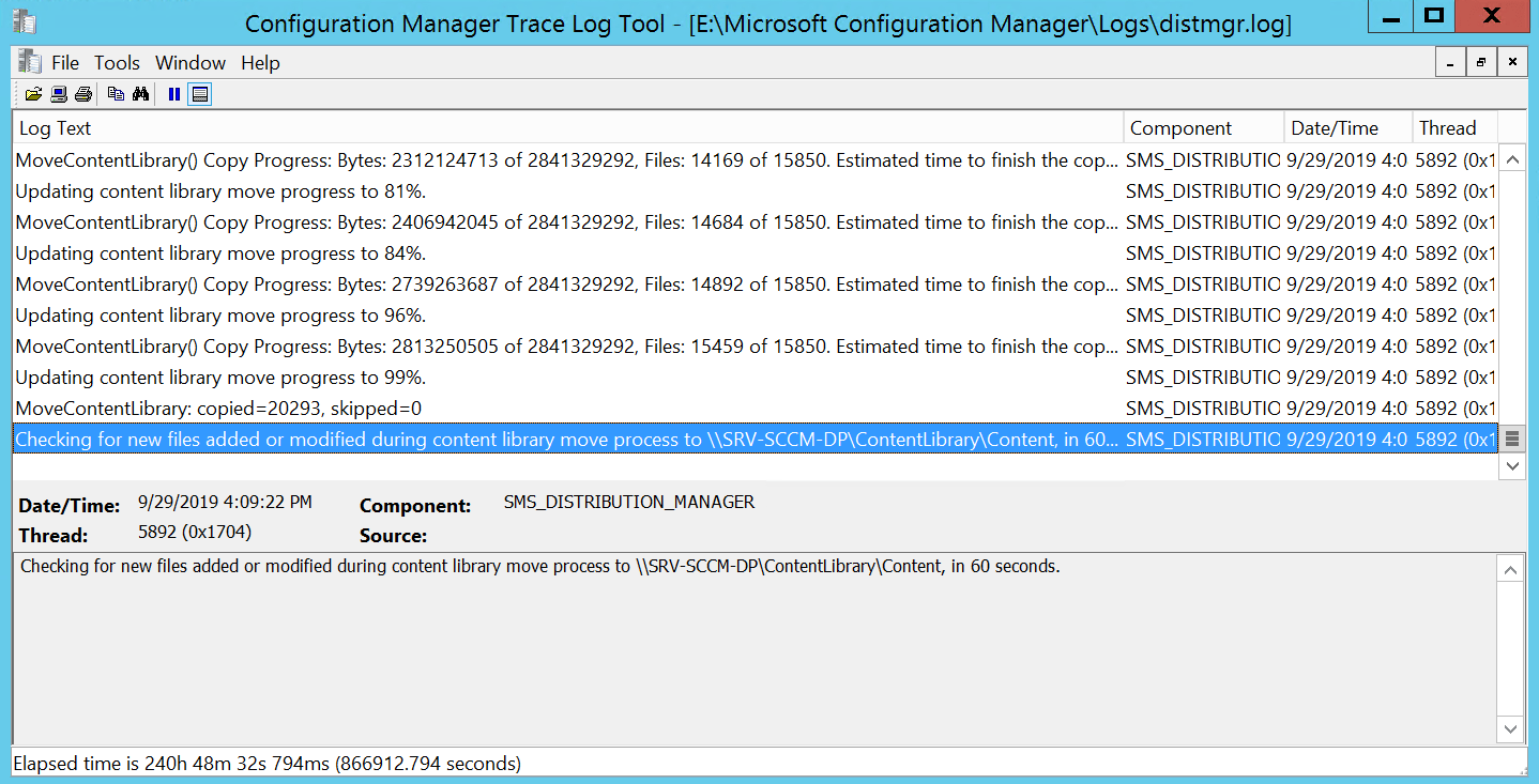 USe DistMgr.log for validate the move content