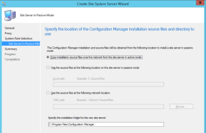 Select the source file for the new site server