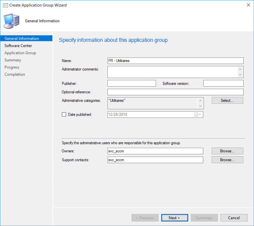 Configure Wizard for create group