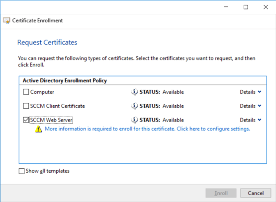 Using MBAM with SCCM - Manage Template certificate - Configure Security
