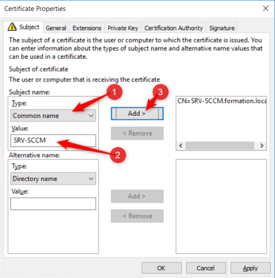 Using MBAM with SCCM - Manage Template certificate - Name of Server