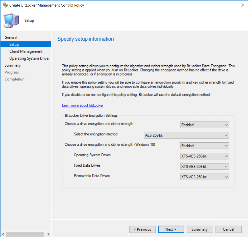 Configure BitLocker Policy as you want