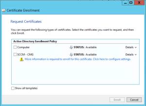 Configure Cloud Management Gateway select template
