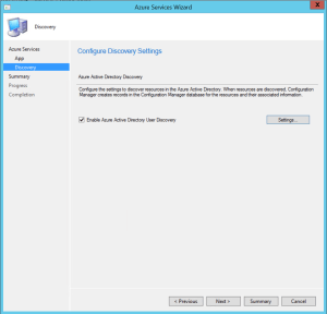 Configure Discovery Settings