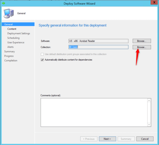 Configure application - Select application