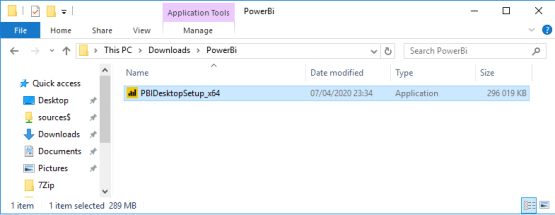 Integrate Power BI with SCCM - Run setup file
