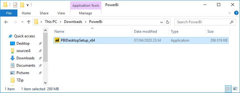 Integrate Power BI with SCCM - Run setup file