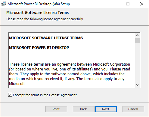 Integrate Power BI with SCCM - Accept terms of licence