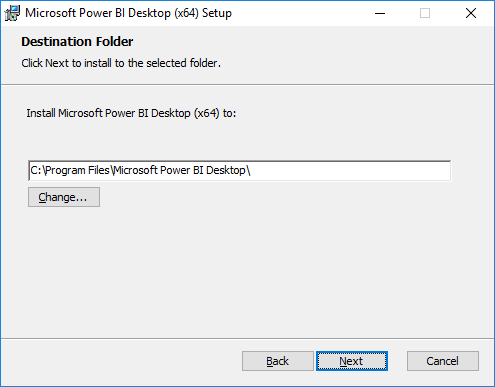 Integrate Power BI with SCCM - Select destination folder