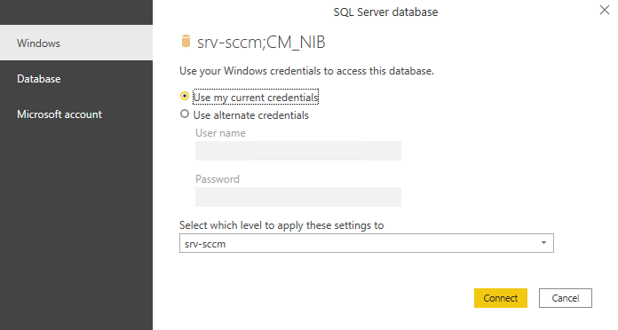 Select credential for PowerBI