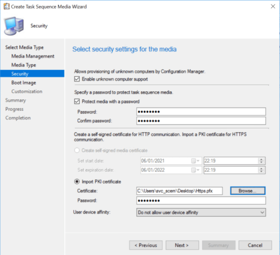 Configure security settings