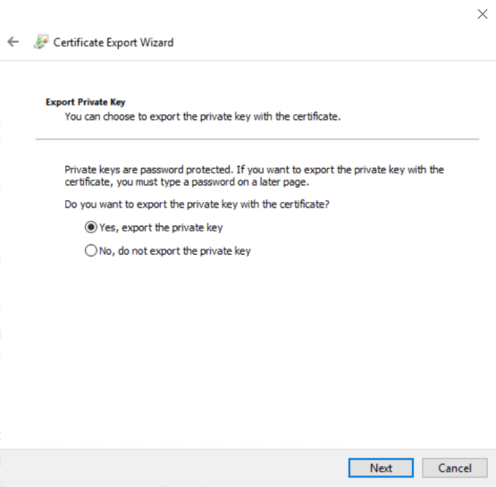 Select Yes to export the private key