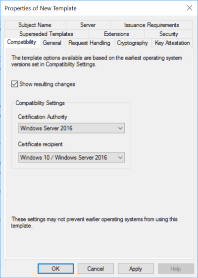 Configure compatibility tab