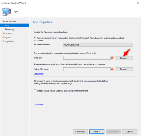 Create Web App for Azure AD SCCM