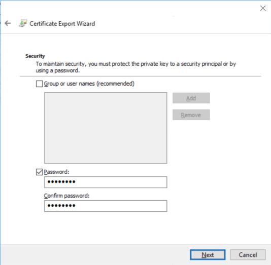 Configure password