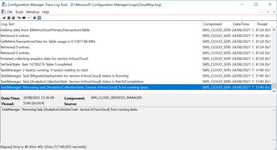 Use the log CloudMgr.log