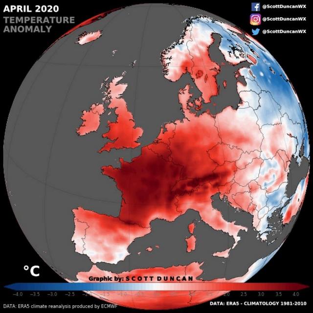 Températures avril 2020