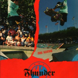 Jesse Martinez Thunder Trucks ad. launch ramps in the street.