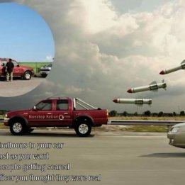 rocket balloons chasing truck
