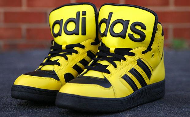 netherlands jeremy scott x adidas instinct hi black yellow