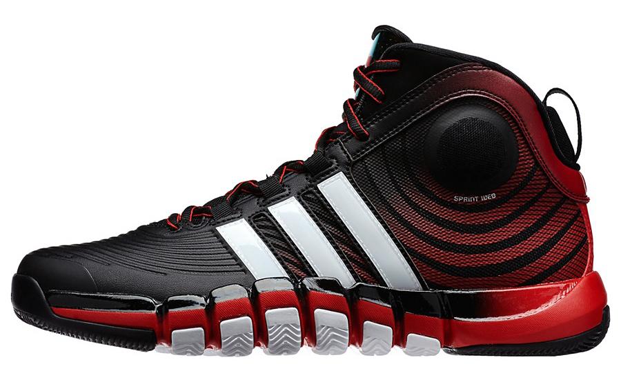 new style b76ce bda2b adidas D Howard 4 Black Running Red