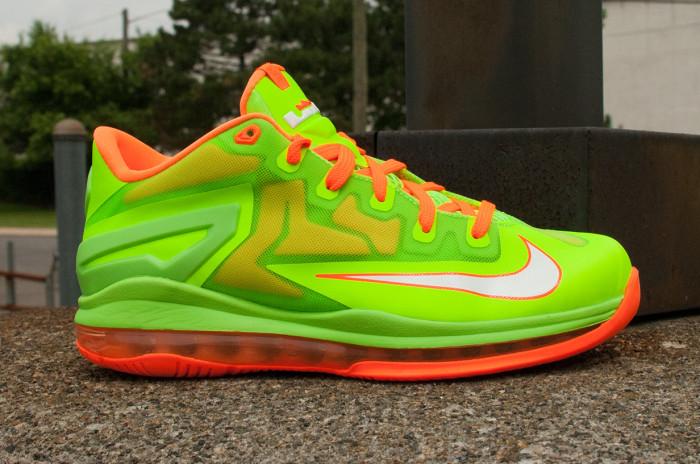 5b83e8597fd8 Nike LeBron 11 Low GS Electric Green Total Orange