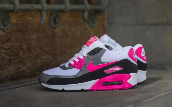 pretty nice ac603 d1e16 Nike WMNS Air Max 90 Essential Cool Grey/Black-Hyper Pink ...