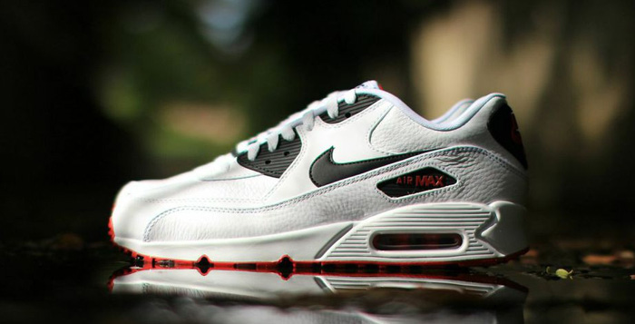 sale retailer 5904a 0dc1d Nike Air Max 90 Leather White/Black/Red | Nice Kicks
