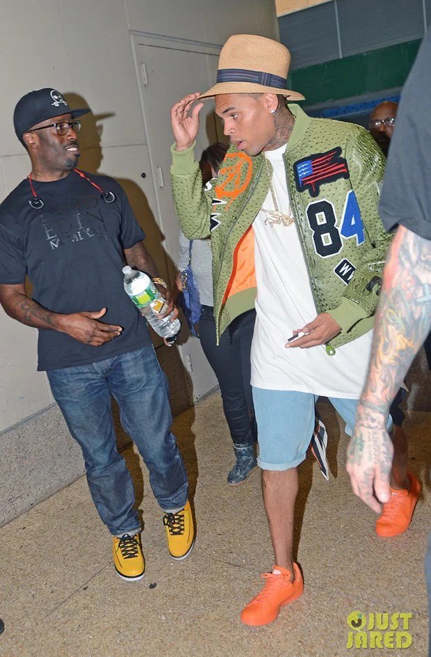 Chris Brown in the Adidas x Raf Simons Stan Smith Sneakers