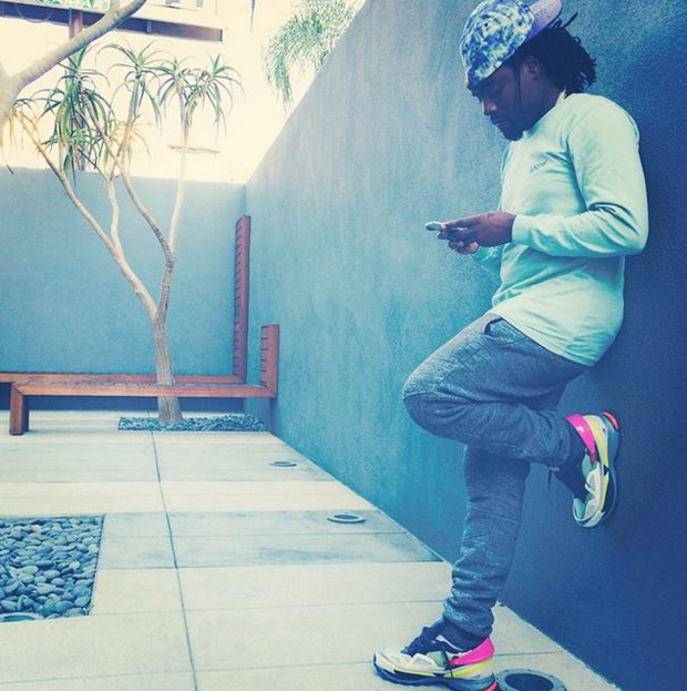 Wale in the Raf Simons x Adidas Response Trail Sneakers
