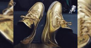 Kyrie Irving wearing Usher's All Gold Air Jordan 3