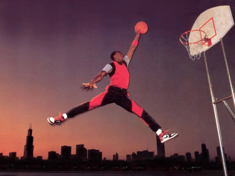 4972098b137a Michael Jordan doing the Jumpman pose for Nike Air Jordan 1 photoshoot  (1985)