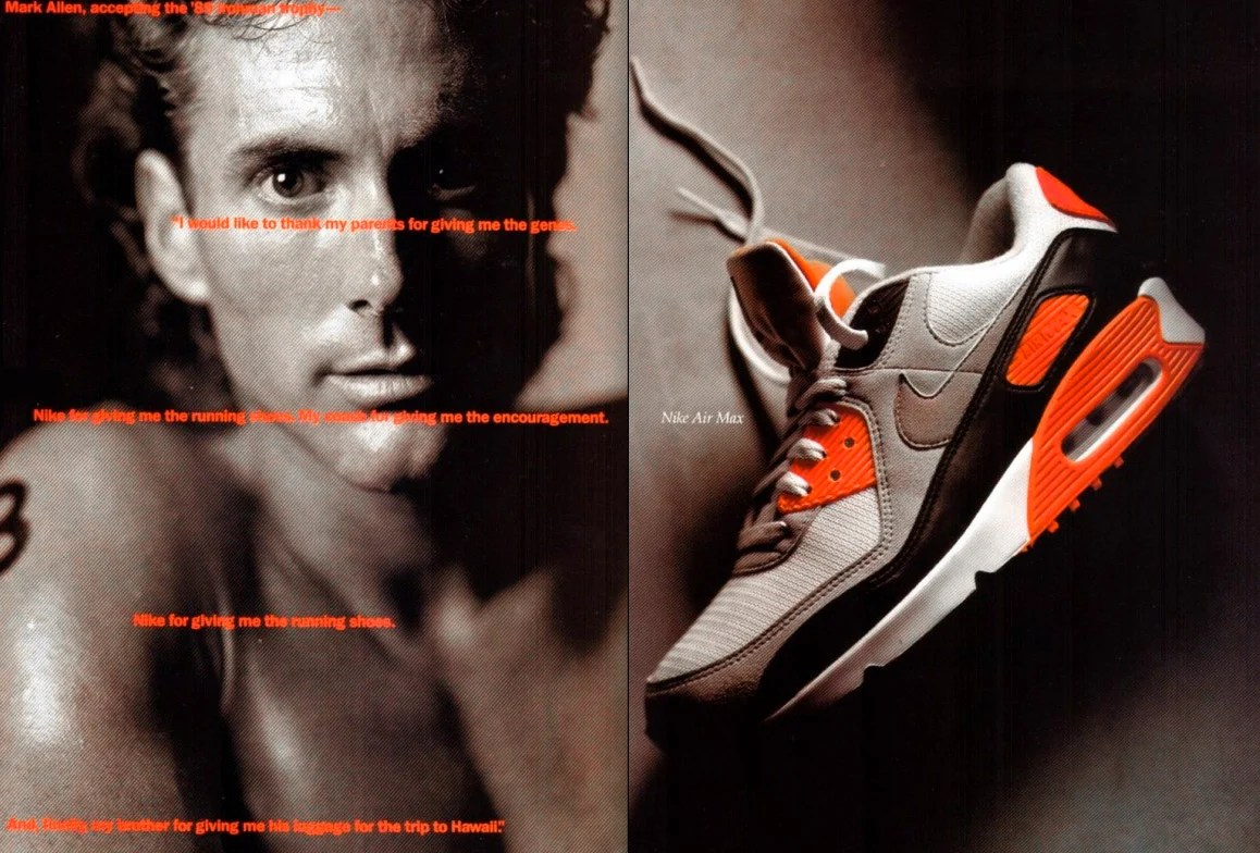 "Nike Air Max 90 ""Infrared"" ad featuring tri-athlete Mark Allen (1990)"