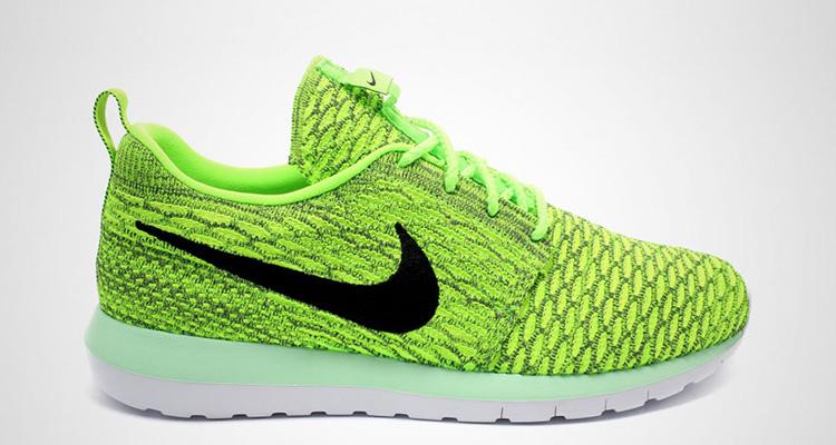 8a658b3fada9 Nike Flyknit Roshe Run Volt Electric Green