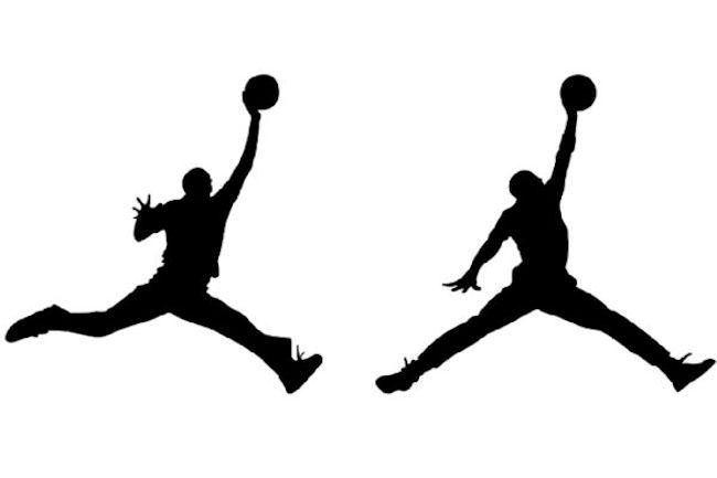 "Silhouette of Michael Jordan from photoshoot (left) vs. Jordan ""Jumpman"" logo (right)"