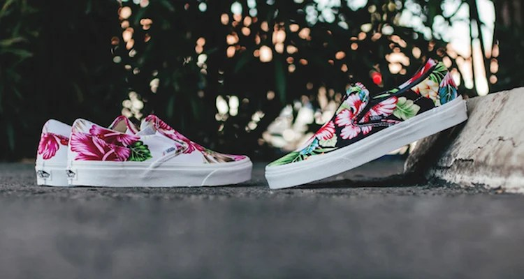 vans hawaiian floral slip on white