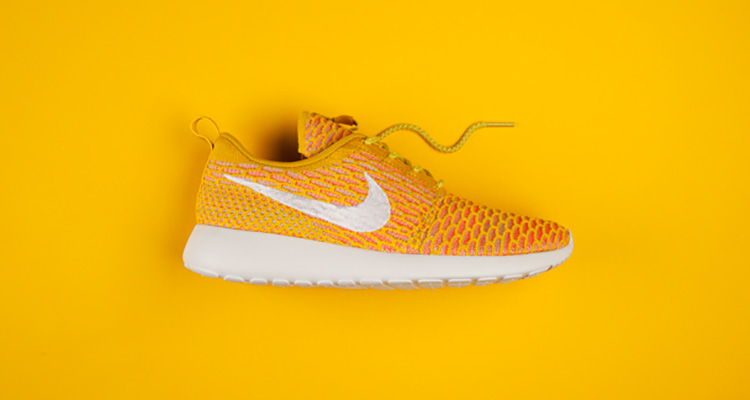 pretty nice 4ec2c 1e3e3 Nike Flyknit Roshe Run Gold White-Orange Available Now