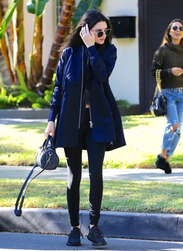 """Kendall Jenner in the adidas Yeezy Boost 350 """"Pirate Black"""""""