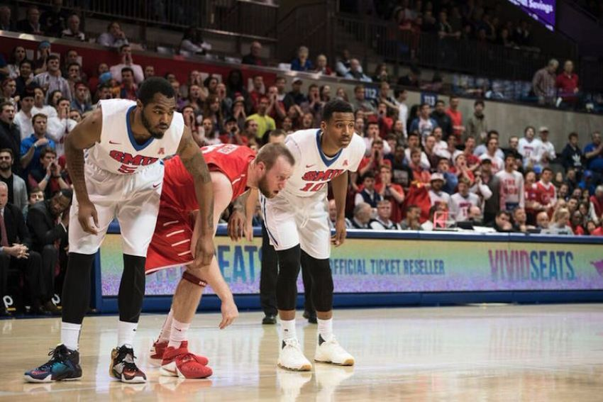 "SMU's Markus Kennedy in the Nike LeBron 12 ""What The"" and Nic Moore in the Nike KD 8 EXT ""White Woven"" (Photo via Patrick Kleineberg)"