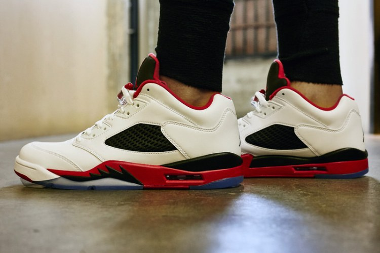 "Air Jordan 5 Low ""Fire Red"" On-Foot Look"