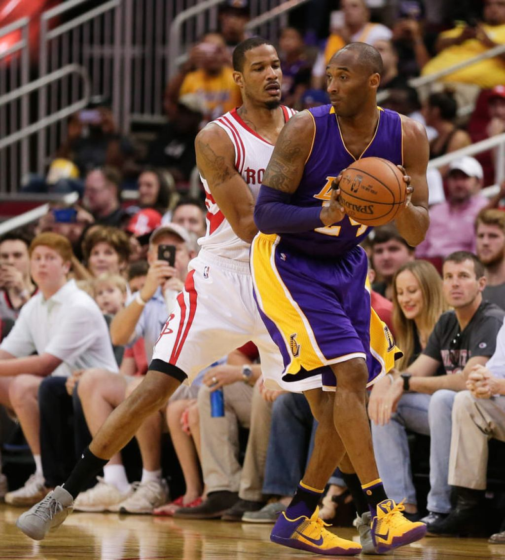 "Trevor Ariza and Kobe Bryant in the Nike Zoom Kobe IV ""Fade to Black"" and a Nike Kobe 11 PE, respectively"