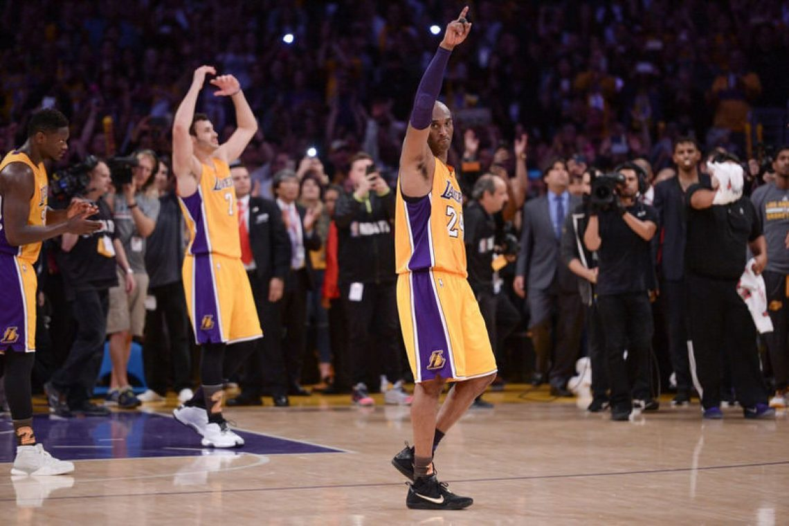 "Kobe Bryant wearing the Nike Kobe 11 ""Fade to Black"""