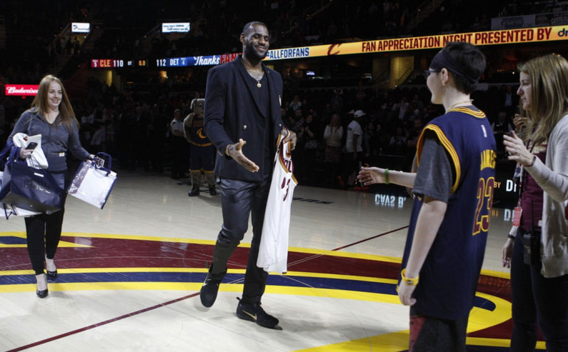 "LeBron James wearing the Nike Kobe 11 ""Fade to Black"""