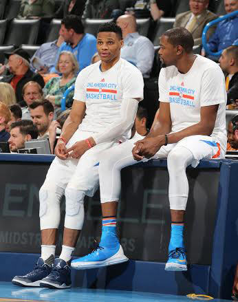 Russell Westbrook and Kevin Durant in an Air Jordan 3 PE and the Nike KD 8 Elite, respectively