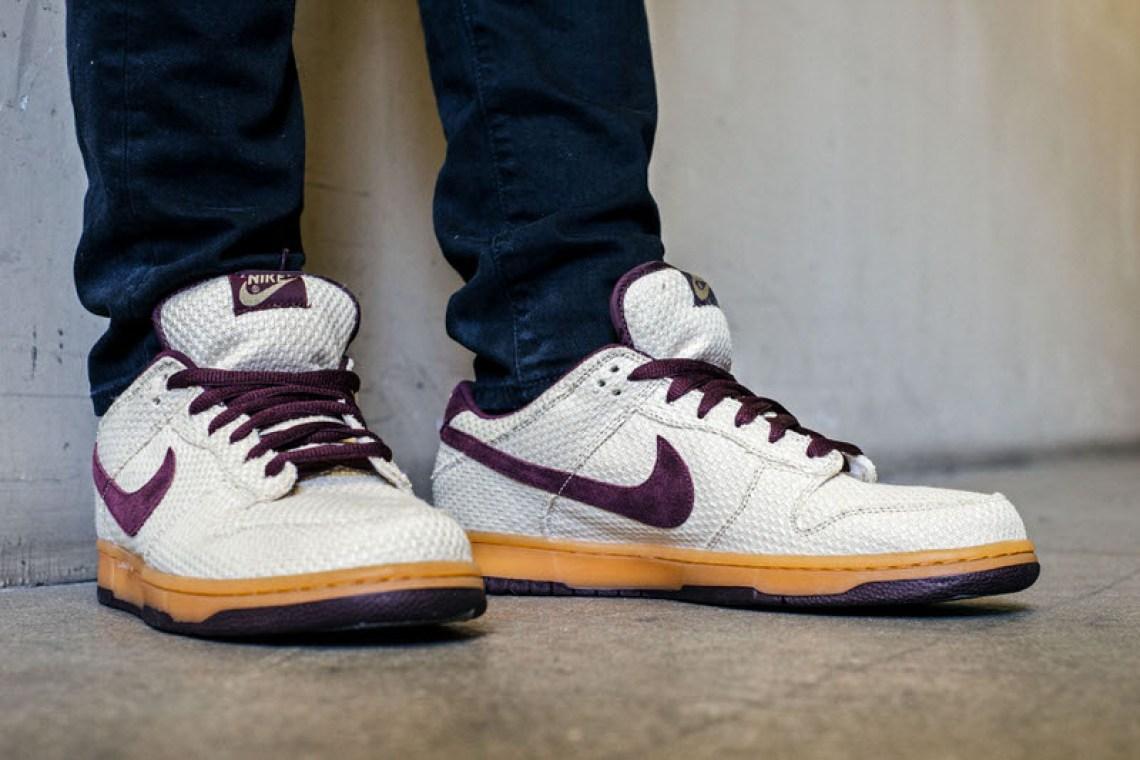 "Nike SB Dunk Low ""Burgundy Hemp"" On-Foot Look"
