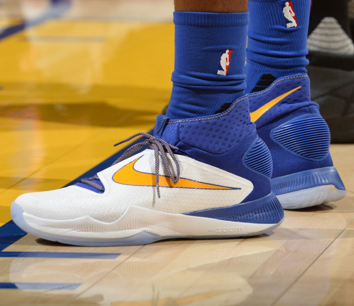 OAKLAND, CA - MAY 30:  The sneakers of Draymond Green #23 of the Golden State Warriors during the game against the Oklahoma City Thunder in Game Seven of the Western Conference Finals during the 2016 NBA Playoffs on May 30, 2016 at ORACLE Arena in Oakland, California. NOTE TO USER: User expressly acknowledges and agrees that, by downloading and or using this photograph, user is consenting to the terms and conditions of Getty Images License Agreement. Mandatory Copyright Notice: Copyright 2016 NBAE (Photo by Noah Graham/NBAE via Getty Images)