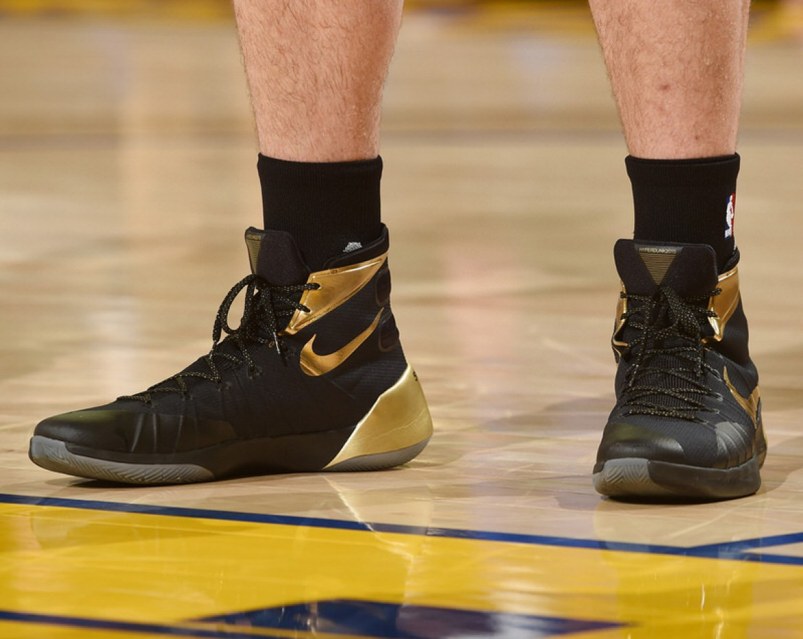 OAKLAND, CA - JUNE 13:  The sneakers of Kevin Love #0 of the Cleveland Cavaliers during the game against the Golden State Warriors in Game Five of the 2016 NBA Finals on June 13, 2016 at ORACLE Arena in Oakland, California. NOTE TO USER: User expressly acknowledges and agrees that, by downloading and/or using this Photograph, user is consenting to the terms and conditions of the Getty Images License Agreement. Mandatory Copyright Notice: Copyright 2016 NBAE (Photo by Andrew D. Bernstein/NBAE via Getty Images)